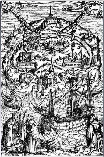 A depiction of Thomas More's Utopia by Ambrosius Holstein
