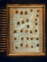 Enlargement of IBM computer switching unit containing 26 circuitry chips. Date taken-	1967 Photographer-	Henry Groskinsky